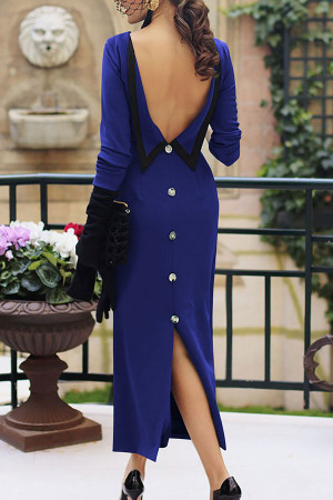 Solid Scoop Backless Slit Dress