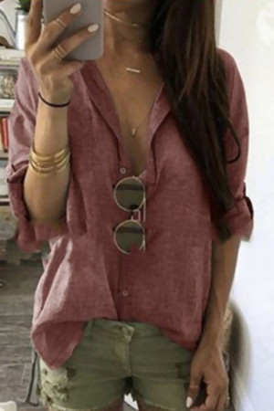 Solid Single Breasted Lapel Blouse
