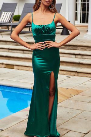 Solid Split Cami Dress