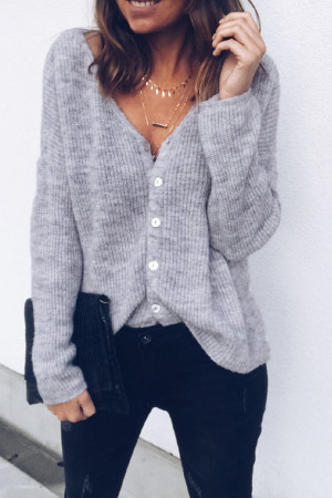 Solid V-neck Button Cardigan