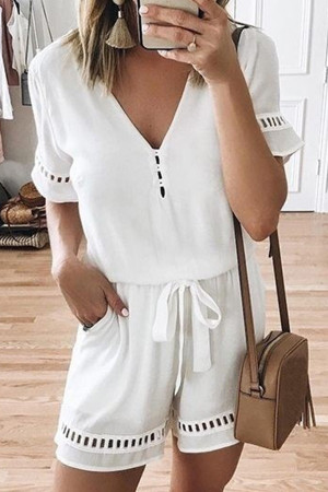 Solid V-neck Lace-up Romper