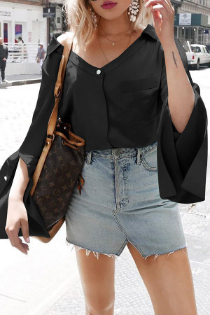 Solid V-Neck Loose Blouse