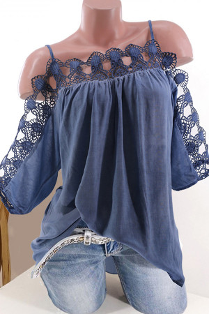 Spaghetti Straps Lace Solid Blouse