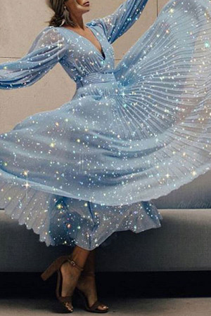 Sparkly Plunge Neck Prom Dress