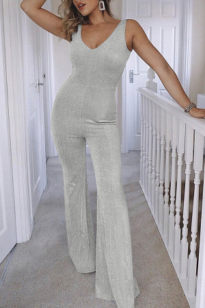 Street V-neck Flared Jumpsuit