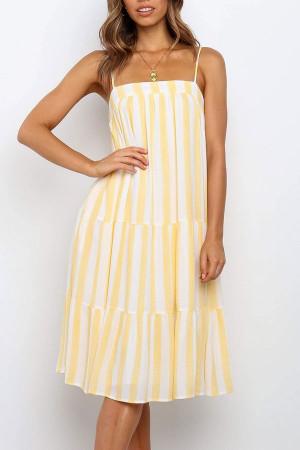 Striped Loose Ruffle Dress