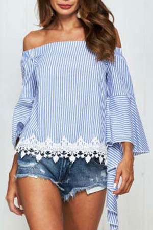 Striped Off-the-shoulder Blouse