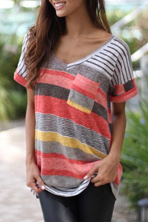 Striped Pockets Patch T-shirt