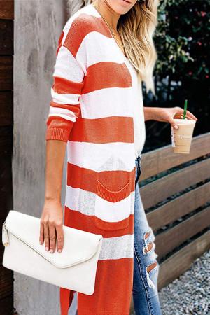 Striped Pockets Slit Cardigan