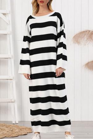 Striped Scoop Knit Sweater Dress