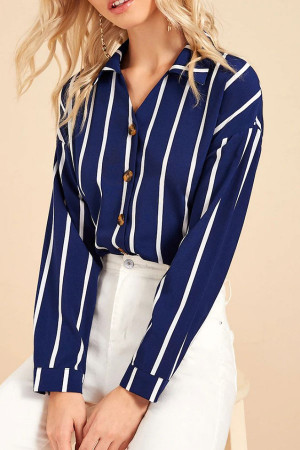Striped  Single  Breasted Shirt
