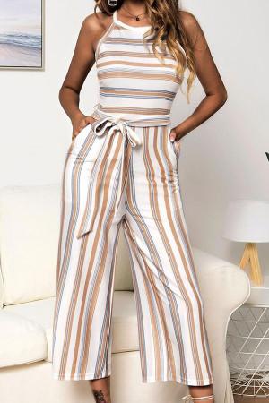 Striped Sleeveless Belt Jumpsuit
