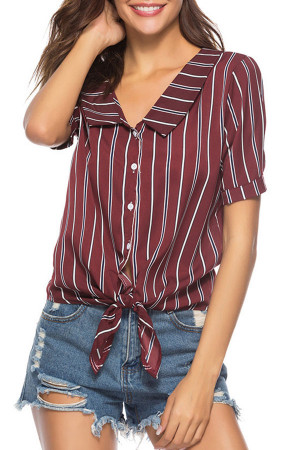 Striped String Buttons Shirt