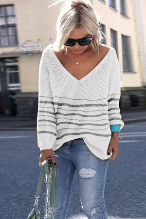 Striped V-neck Casual Sweater