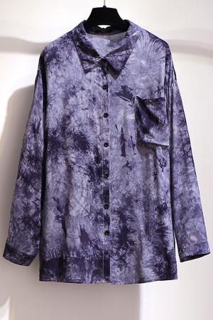 Tie Dye Pockets Plus Size Shirt