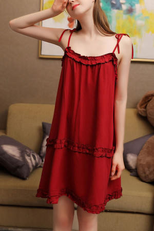 Tie Shoulder Ruffled Night Dress