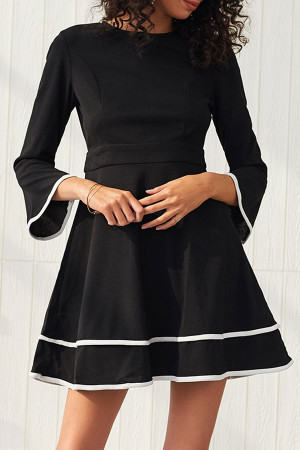 Trumpet Sleeves Fitted A-line Dress