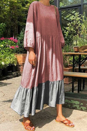 Two-tone Patchwork Maxi Dress