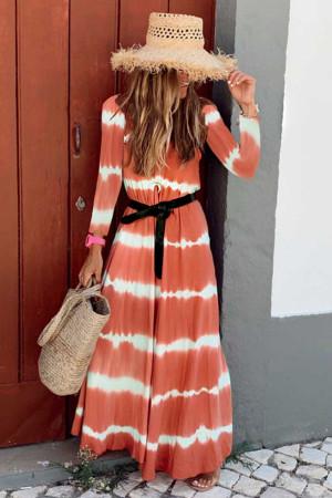 Two-tone Striped Maxi Dress
