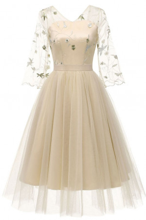 V-neck A-line Tulle Dress
