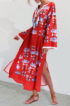 V-Neck Boho Lace-up Dress