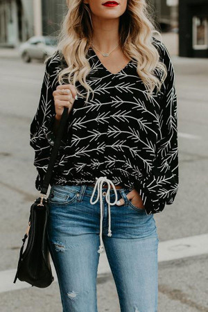V-Neck Casual Print Sweatshirt