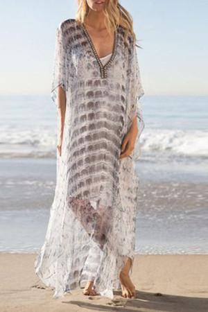 V-Neck Chiffon Maxi Dress