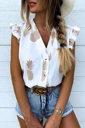 V-neck Crop Pineapple Print Shirt