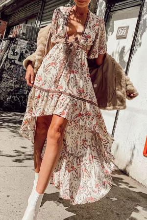 V-Neck Floral Bow Dress