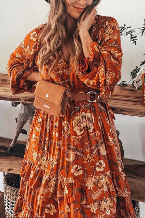 V-neck Floral Ruffled Long Dress