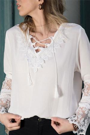 V-Neck Lace Sleeves Blouse