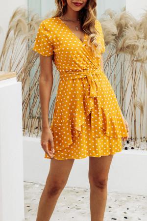 V-Neck Polka Dot Ruffles Sashes Dress