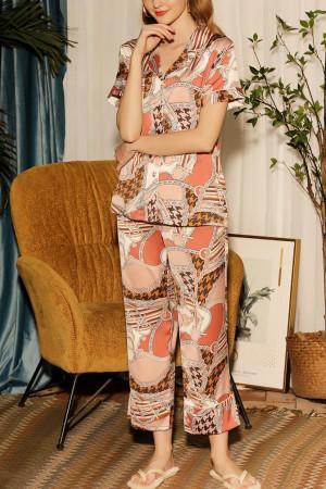 V-neck Print Pajama Set