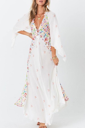 V-neck Print Vacation Dress