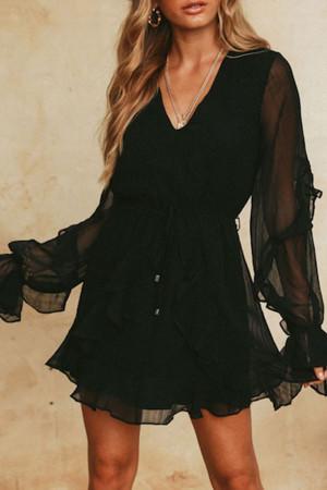 V-Neck Ruffle Sleeves Wrap Dress