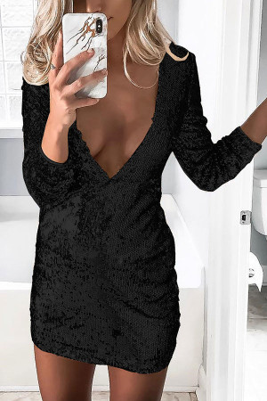 V-neck Sequins Bodycon Dress