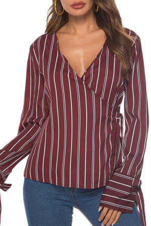 V-neck  Striped  String   Blouse