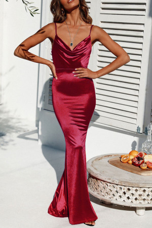 Velvet Mermaid Spaghetti Straps Dress