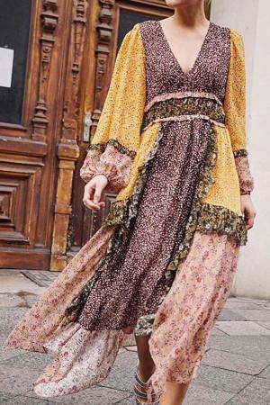 Vintage Floral Ruffled Dress