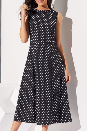 Vintage Polka Dot Maxi Dress