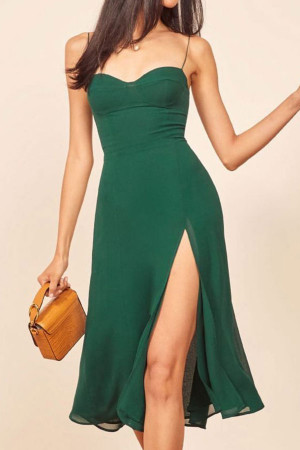 Vintage Slit Spaghetti Straps Dress