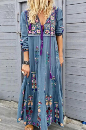 Vintage Tassel Embroidery Dress
