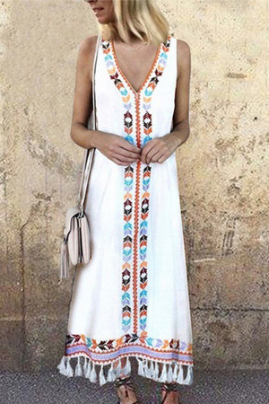 Vintage V-neck Tassel Tank Dress
