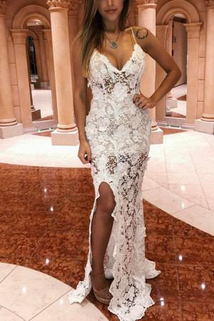 White Slit Sleeveless Lace Dress