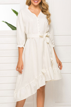 White Belted Ruffle Dress