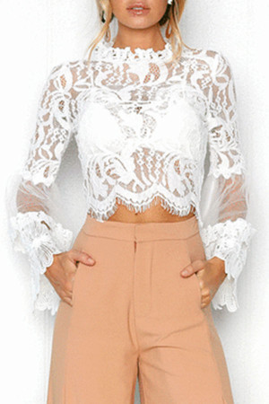 White Casual Lace Top