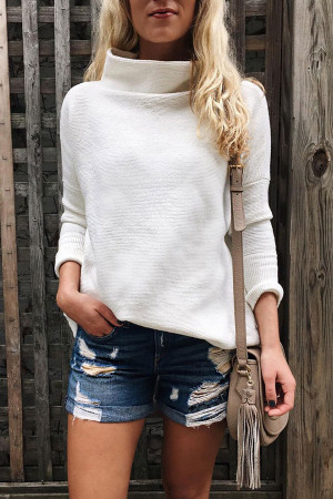White Casual Turtleneck Sweater