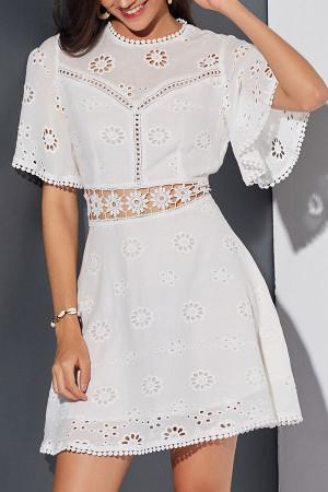 White Cutout Lace Panel Dress