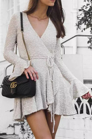 White Deep V Lace-up Dress