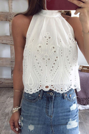 White Halter Cutout Top
